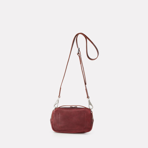 Leila Small Calvert Leather Crossbody Bag in Plum