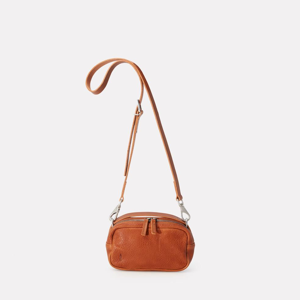 Leila Small Calvert Leather Crossbody Bag in Tan