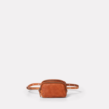 Leila Tiny Calvert Leather Crossbody Bag in Tan