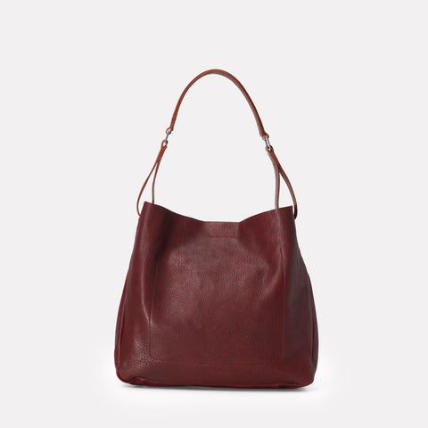 Ally Capellino, Leather, Shoulder bag, leather, plum leather, purple leather, bag, East London, Portabello Road, Italian Leather, Stitched, A4 Folder, Magnet close, Vegetable tanned leather