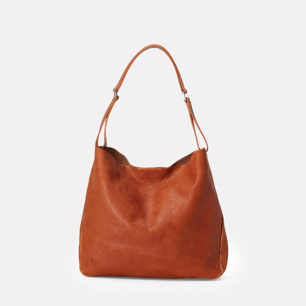 Ally Capellino, Leather, Shoulder bag, tan leather, brown leather, bag, East London, Portabello Road, Italian Leather, Stitched, A4 Folder, Magnet close, Vegetable tanned leather,