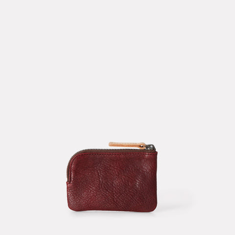 Tina Calvert Leather Zip Round Pouch in Plum