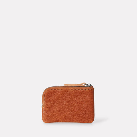Tina Calvert Leather Zip Round Pouch in Tan