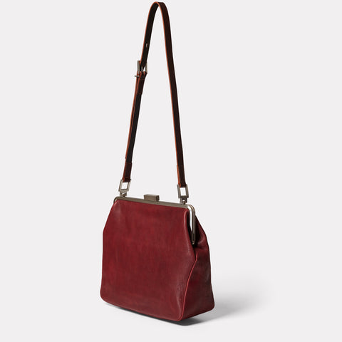 Fox Large Calvert Leather Frame Bag in Plum