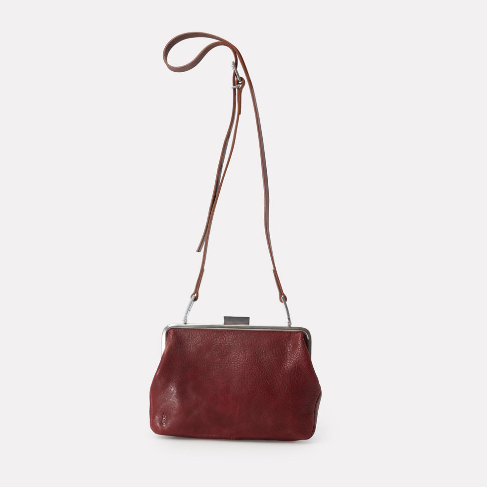 Fox Medium Calvert Leather Frame Bag in Plum