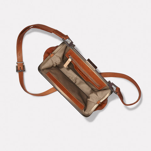 Fox Medium Calvert Leather Crossbody Frame Bag in Tan