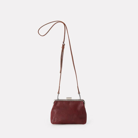 Fox Small Calvert Leather Frame Bag in Plum