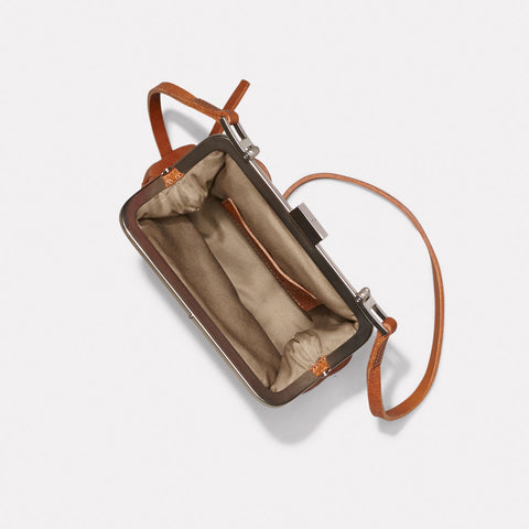 Fox Small Calvert Leather Frame Bag in Tan