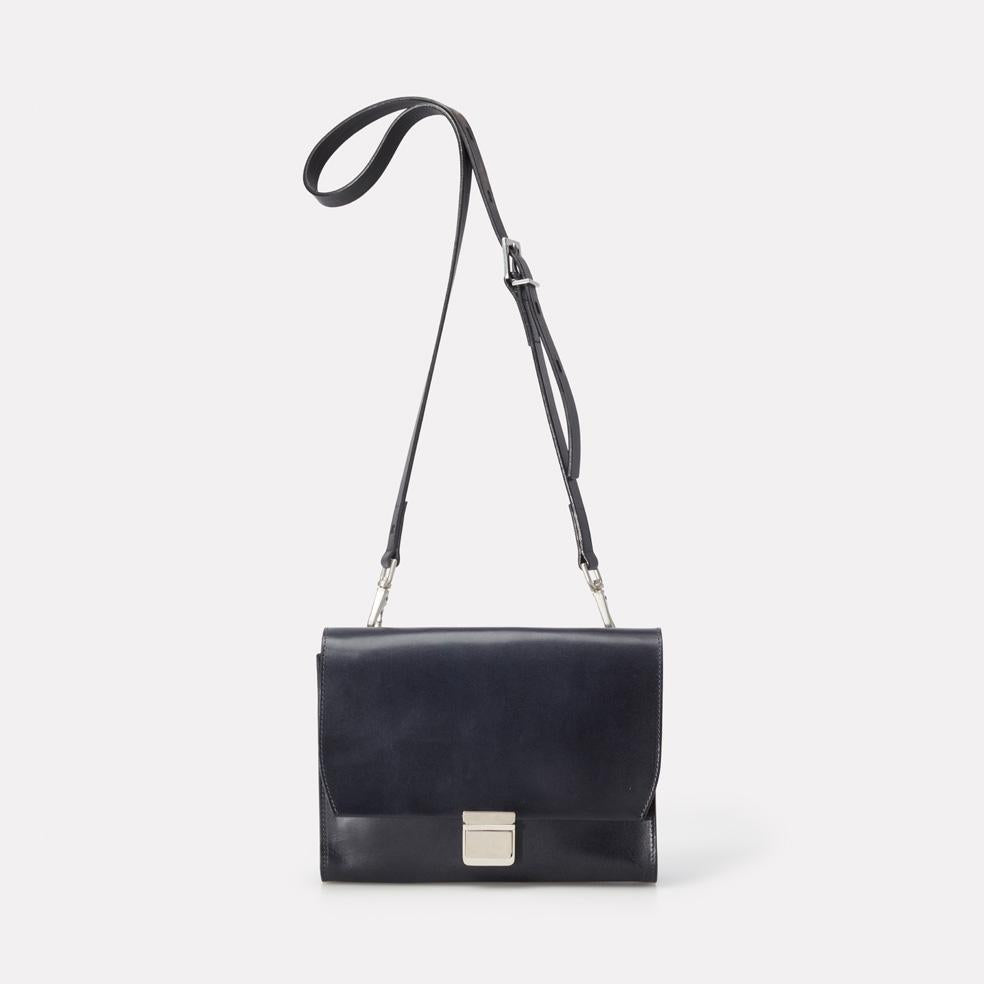 Simone Medium Marlow Leather Crossbody Bag in Navy