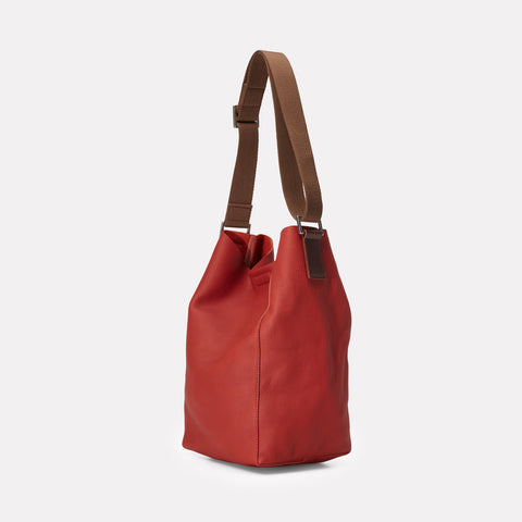 Vivienne Rochelle Leather Bucket Bag in Brick Red