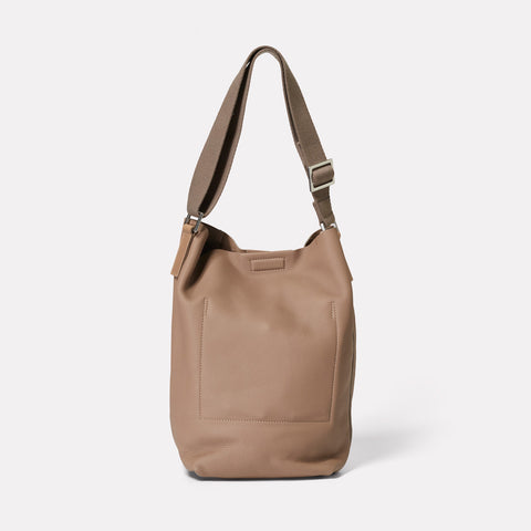 Vivienne Rochelle Leather Bucket Bag in Taupe