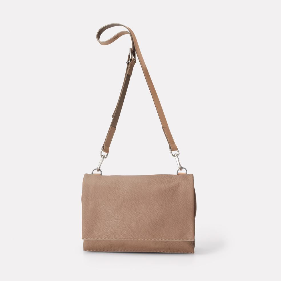 Irenie Large Rochelle Leather Crossbody Bag in Taupe