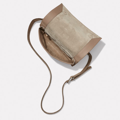 Irenie Small Rochelle Leather Crossbody Bag in Taupe