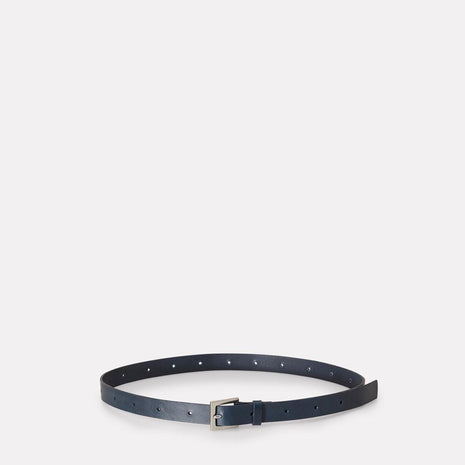 Arty Leather Belt in Navy