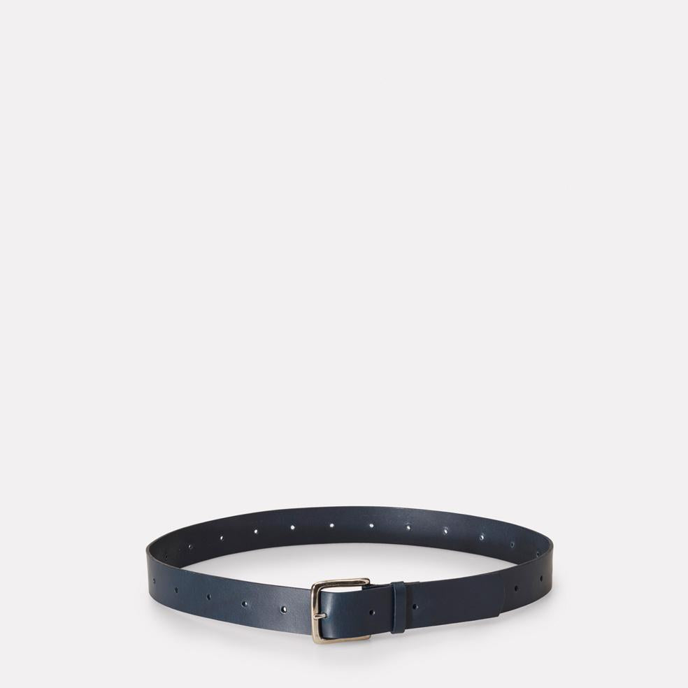 Dennis Wide Leather Belt in Navy