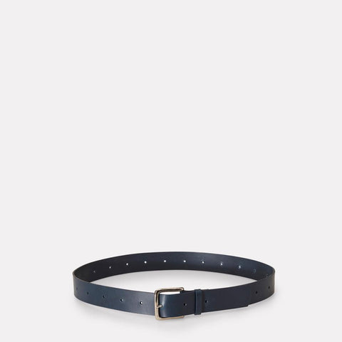Dennis Wide Leather Belt in Navy for Men