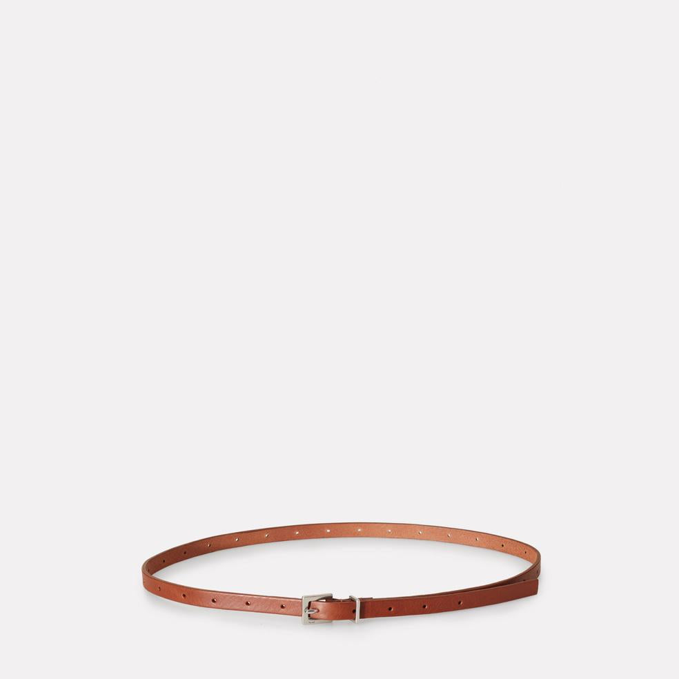Etty Slim Leather Belt in Brown