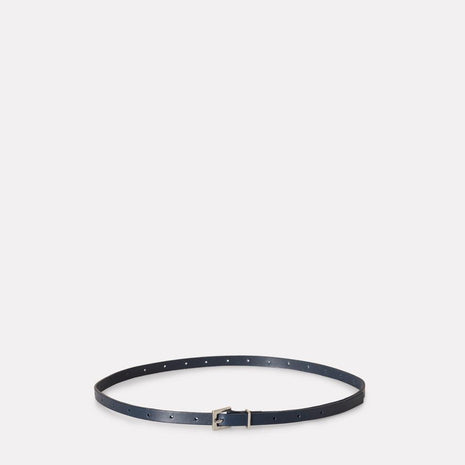 Etty Slim Leather Belt in Navy