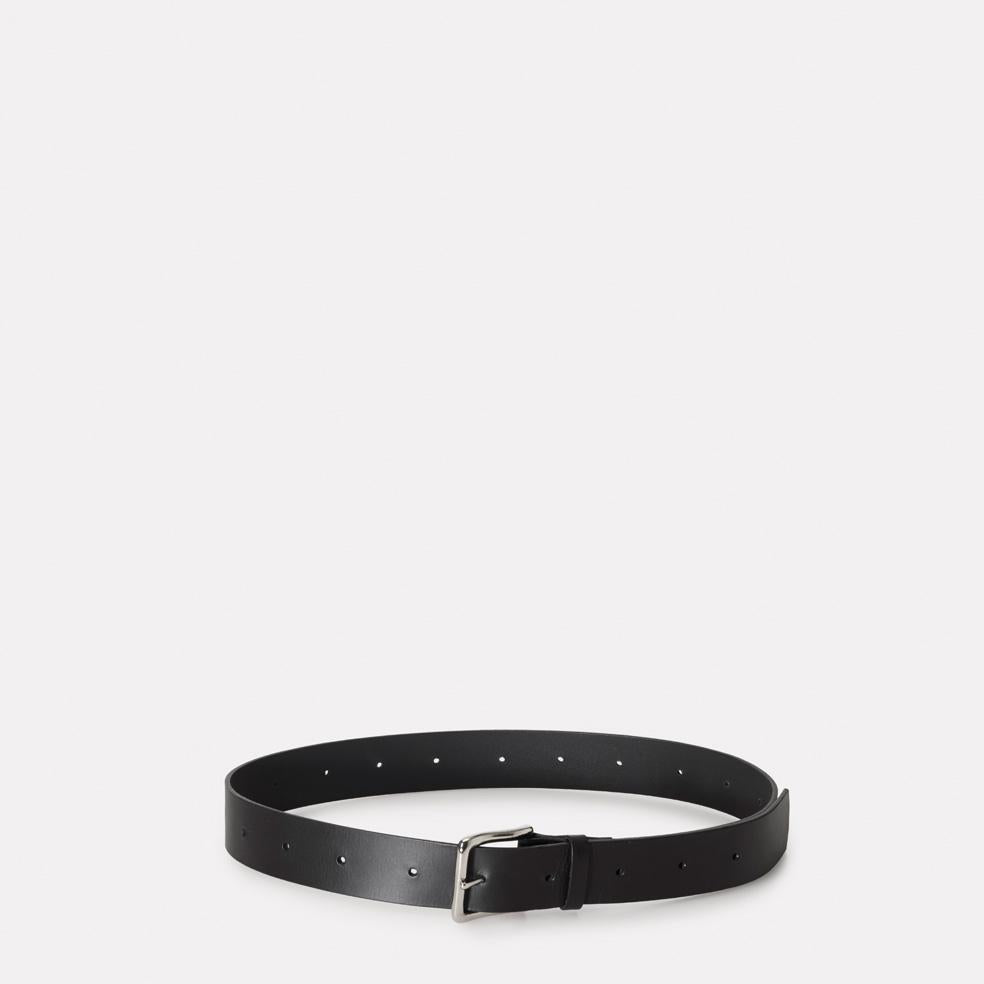 Dennis Wide Leather Belt in Black