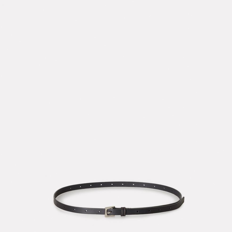 Etty Slim Leather Belt in Black
