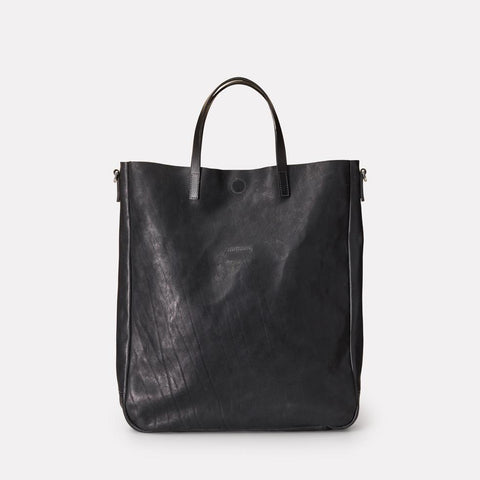 Angel Vegetable Tanned Leather Tote in Black For Men and Women