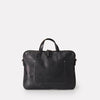 Gaudi Vegetable Tanned Leather Mens Zip-Up Folio Bag in Black With Removable Webbing Strap