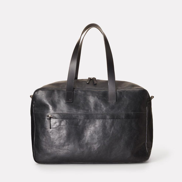 Mateo Vegetable Tanned Leather Travel Holdall in Black With Leather Straps For Men and Women
