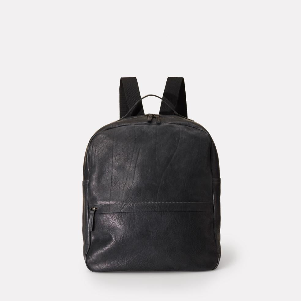 Tàpies Large Vegetable Tanned Leather Zip-Up Backpack With Webbing Straps in Black for Men