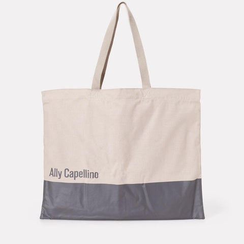 Grey Canvas Shopper Tote Bag With Ally Capellino Logo For Women and Men