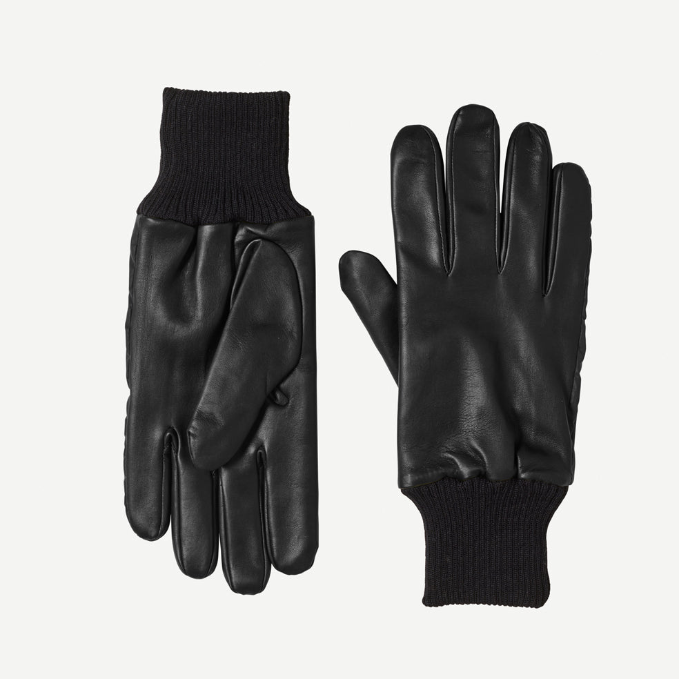 Mens Leather Gloves With Reflective Strips in Black