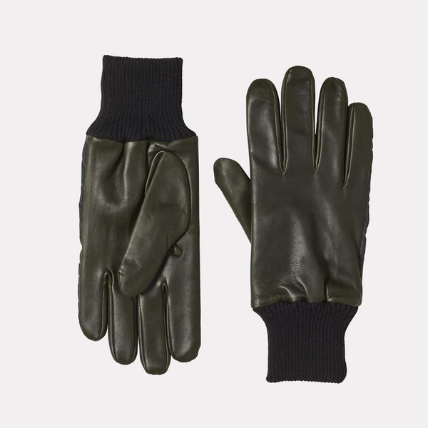Mens Leather Gloves With Reflective Strips in Green