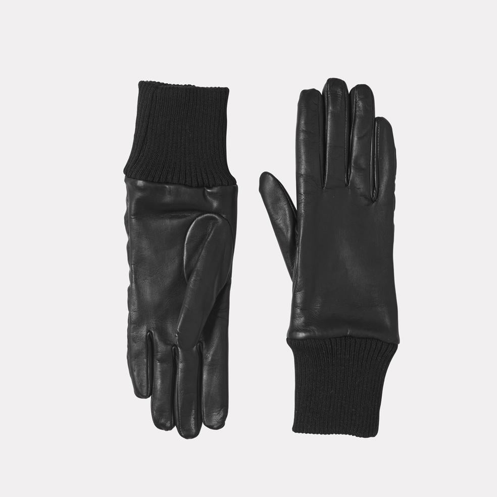Ladies Leather Gloves With Reflective Strips in Black