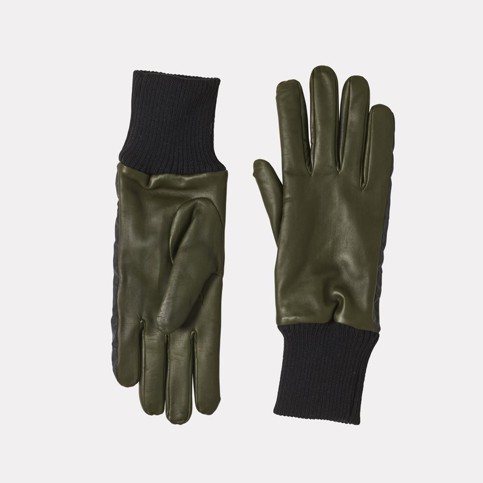 Ladies Leather Gloves With Reflective Strips in Green
