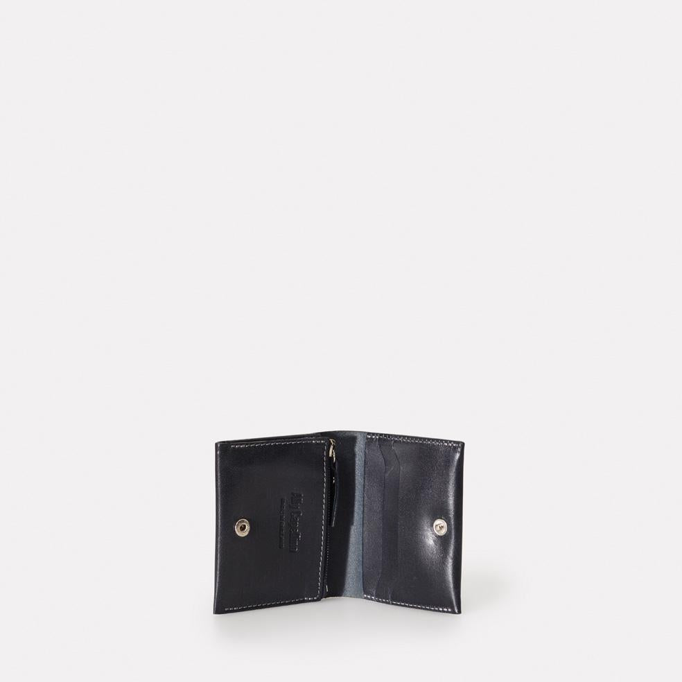 Riley Leather Wallet With Zip Up Coin Section in Navy Men and Women