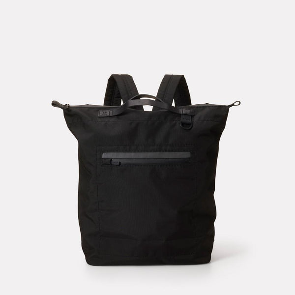 SS19, mens, womens, travel and cycle, nylon, backpack, rucksack, black, black backpack, black rucksack, water resistant, water resistant backpack, reflective, cycle bag, black travel bag,