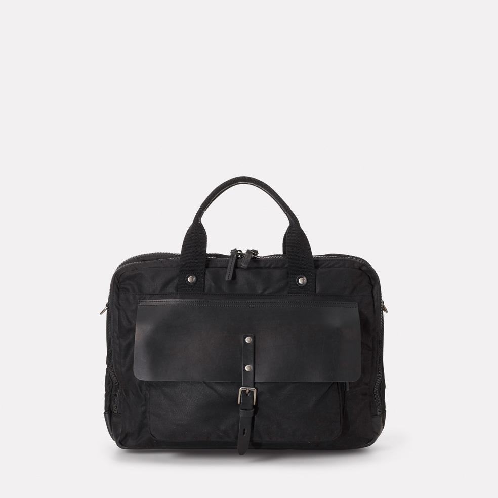 iSaac Leather & Waxed Cotton Briefcase in Black