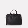 iSaac Leather & Waxed Cotton Briefcase With Padded Pockets in Black With Black Leather For Men and Women