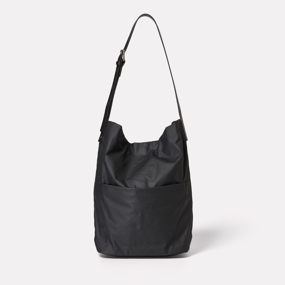 SS19, womens, waxed cotton, black, bucket bag, shoulder bag, waxed cotton bucket bag, black waxed cotton, waxed cotton shoulder bag, black shoulder back, black bucket bag, black waxed cotton shoulder bag, black waxed cotton bucket bag,