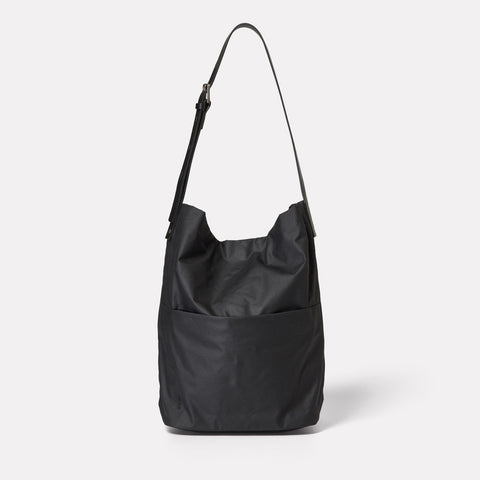 Lloyd Waxed Cotton Bucket Bag in Black