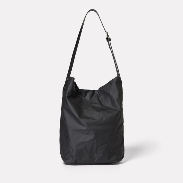 Lloyd Waxed Cotton Bucket Bag in Black-BUCKET-Ally Capellino-Ally Capellino