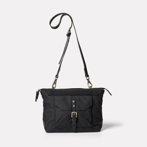 Francesca Waxed Cotton Crossbody Bag in Black-CROSS BODY-Ally Capellino-Ally Capellino
