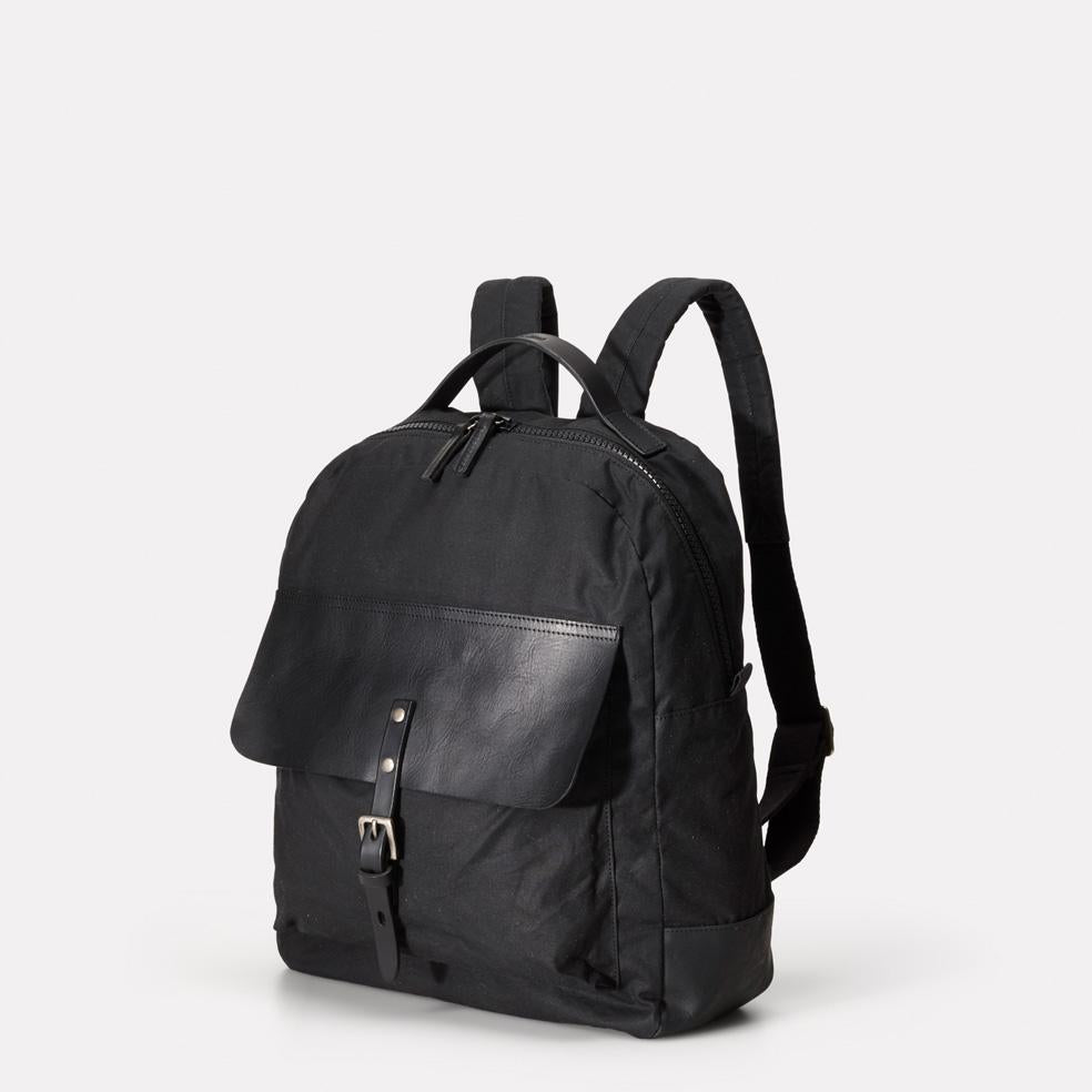 067bcdc9ead0 ... iAn Mid-Sized Waxed Cotton   Leather Backpack With Padded Pockets in  Black for Men ...