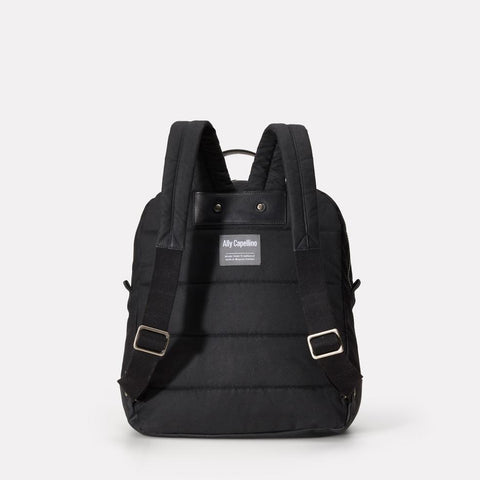 iAn Mid-Sized Waxed Cotton & Leather Backpack With Padded Pockets in Black for Men and Women