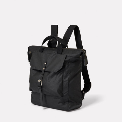 Frances Small Waxed Cotton Zip Up Backpack With Webbing Top Handle in Black For Women and Men