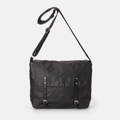 Jeremy Waxed Cotton Satchel In Black