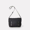 Jeremy Small Waxed Cotton Satchel in Black-Satchels-Ally Capellino-Ally Capellino