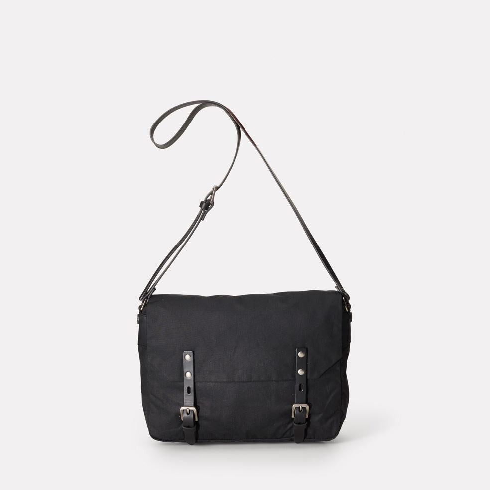 Jeremy Small Waxed Cotton Satchel in Black