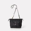Francesca Waxed Cotton Crossbody Bag in Black-Handbags-Ally Capellino-Ally Capellino