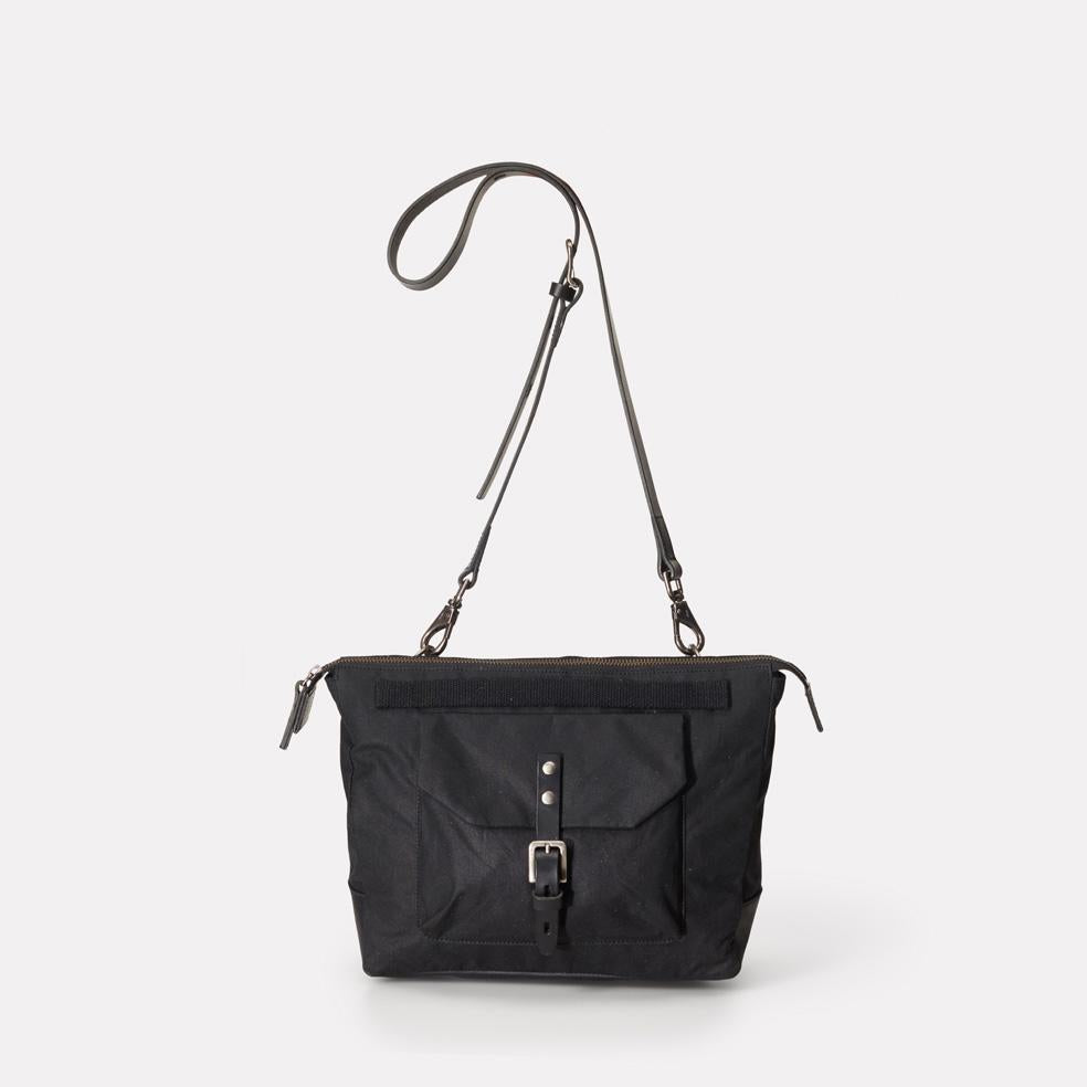 Francesca Waxed Cotton Crossbody Bag in Black