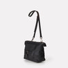 SS19, waxed cotton, womens, unisex, black, crossbody, crossbody bag, shoulder bag, black crossbody, waxed cotton, waxed cotton crossbody,